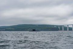 现代俄国军用水下巡洋舰线在行、北舰队和波罗的海舰队的在公海 免版税库存图片