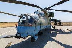 现代俄国攻击用直升机MI-35M 免版税库存照片
