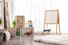 现代儿童居室内部设置 免版税库存图片