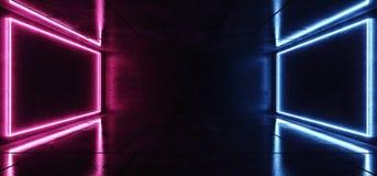 现代典雅的未来派霓虹蓝色在黑暗空的紫色桃红色发光的长方形光文本室难看的东西反射性混凝土的 向量例证