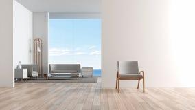 现代内部与沙发集合的客厅木地板 在客厅海视图夏天3d翻译前面的椅子 向量例证