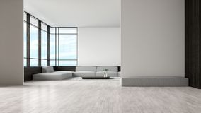 现代内部客厅木地板沙发设置了海视图夏天3d翻译 等候室空的墙壁 向量例证