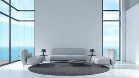 现代内部有灰色沙发和椅子窗口海视图夏天模板的客厅木地板白色纹理墙壁3d的嘲笑的 皇族释放例证