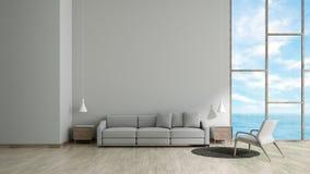现代内部有灰色沙发和椅子窗口海视图夏天模板的客厅木地板白色纹理墙壁3d的嘲笑的 向量例证