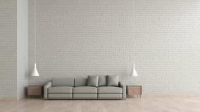 现代内部有灰色沙发模板的客厅木地板白色砖纹理墙壁3d翻译的嘲笑的 最小的生活r 库存例证