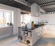 现代内部的厨房 图库摄影