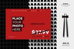 现代几何黑白色大模型 传染媒介寿司菜单的,传单,小册子,时事通讯,海报,网布局模板 免版税图库摄影