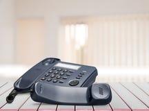 现代办公室电话特写镜头视图 免版税图库摄影