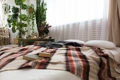 现代单室公寓的内部与许多的植物和在地板上的一张床 库存照片