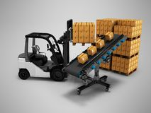 现代卸载物品由在纸箱3d的铲车在与阴影的灰色背景回报 皇族释放例证