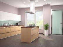 现代厨房室内设计有海岛的 免版税图库摄影