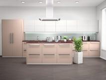 现代厨房室内设计有海岛的 库存图片