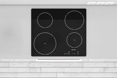 现代厨房有归纳Cooktop火炉顶视图 3D renderi 库存照片