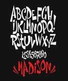 现代可笑字体和字母表传染媒介  库存图片