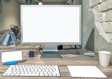 现代台式计算机黑屏  免版税库存图片