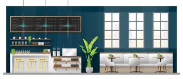 现代咖啡店内部场面与逆酒吧、桌和椅子的 库存例证