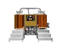 现代啤酒植物啤酒厂,当酿造水壶、船、木盆和管子由不锈钢和被隔绝的cuprum铜制成在whi 免版税库存图片