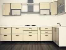 现代国内厨房,时髦的内部装饰业 免版税库存图片