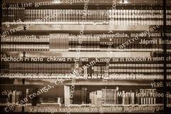 现代图书馆的玻璃状门面在毕尔巴鄂,西班牙 图库摄影