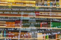 现代图书馆的玻璃状门面在毕尔巴鄂,西班牙 免版税图库摄影