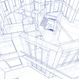 现代图纸的房子 免版税库存照片