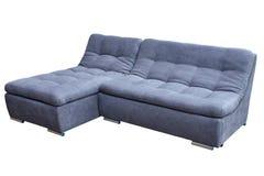 现代在白色背景的客人灰色大角落舒适沙发 库存照片