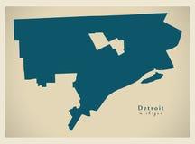 现代地图-美国的底特律密执安市 库存照片
