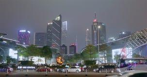 现代城市在晚上 昂贵在一个大城市在晚上 大都会在晚上 股票视频