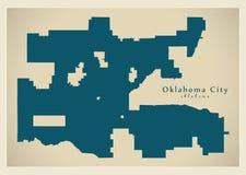 现代城市地图-美国的奥克拉荷马市 免版税库存图片