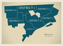 现代城市地图-美国的底特律密执安市有区的 免版税库存照片