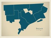 现代城市地图-美国的底特律密执安市有区的 库存图片
