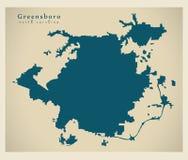 现代城市地图-美国的格林斯博罗北卡罗来纳市 免版税图库摄影