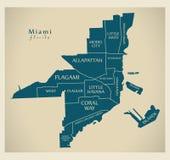 现代城市地图-美国的迈阿密佛罗里达市有neighborhoo的 库存例证
