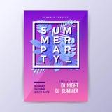 现代夏天党海报设计 图库摄影