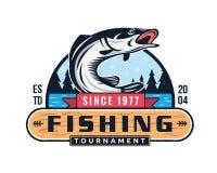 现代夏天钓鱼商标徽章例证在被隔绝的白色背景中 皇族释放例证