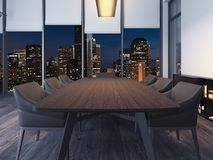 现代夜办公室会议室 3d翻译 免版税库存图片