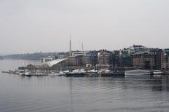 现代大厦在奥斯陆在冬天 库存照片