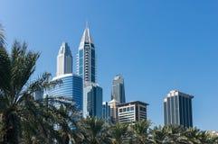 现代大厦复合体在迪拜阿拉伯联合酋长国 免版税图库摄影
