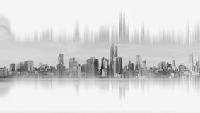 现代大厦,抽象城市网络连接,黑白,在白色背景 免版税库存照片