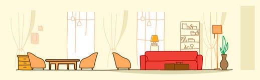 现代客厅内部不倒空人房子家具当代公寓室剪影乱画水平的横幅 皇族释放例证
