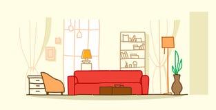 现代客厅内部不倒空当代公寓室剪影乱画水平的人房子家具 皇族释放例证