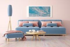 现代客厅室内设计有沙发3d翻译的 免版税库存图片