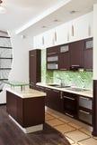 现代家具硬木内部的厨房 免版税库存图片