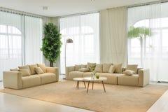 现代家客厅内部  免版税库存图片