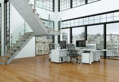 现代家庭办公室室内设计3d翻译 库存照片