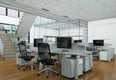 现代家庭办公室室内设计3d翻译 免版税库存照片