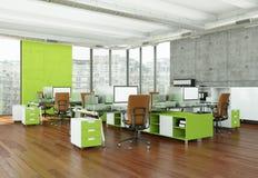 现代家庭办公室室内设计3d翻译 免版税图库摄影
