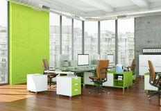 现代家庭办公室室内设计3d翻译 免版税库存图片