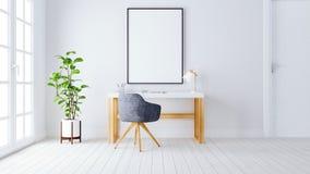 现代家庭办公室工作区3d回报3d例证 免版税库存照片