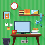 现代工作场所的例证在屋子里 平的样式 免版税库存图片